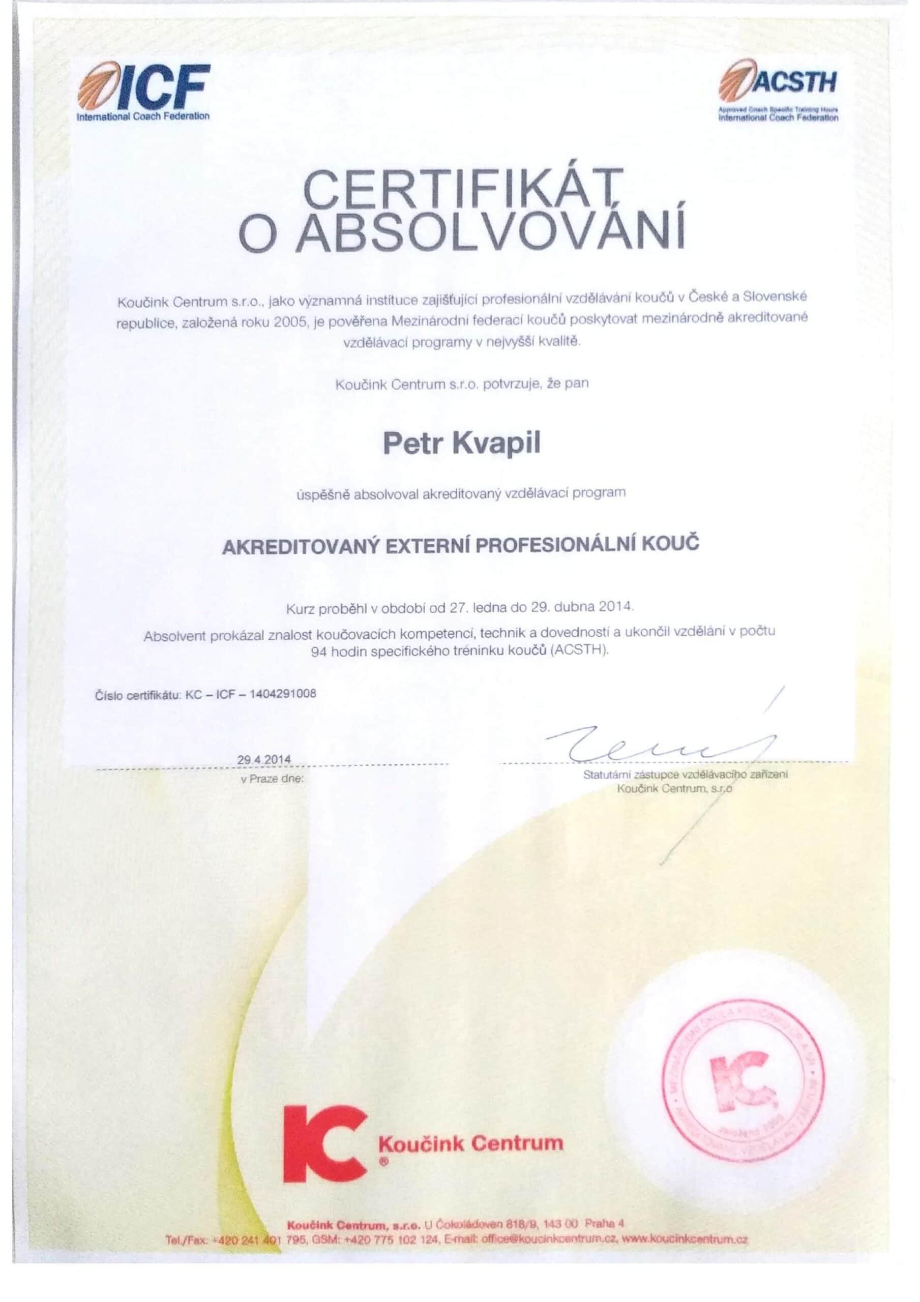 Certifikát o absolvovaném koučovacím výcviku