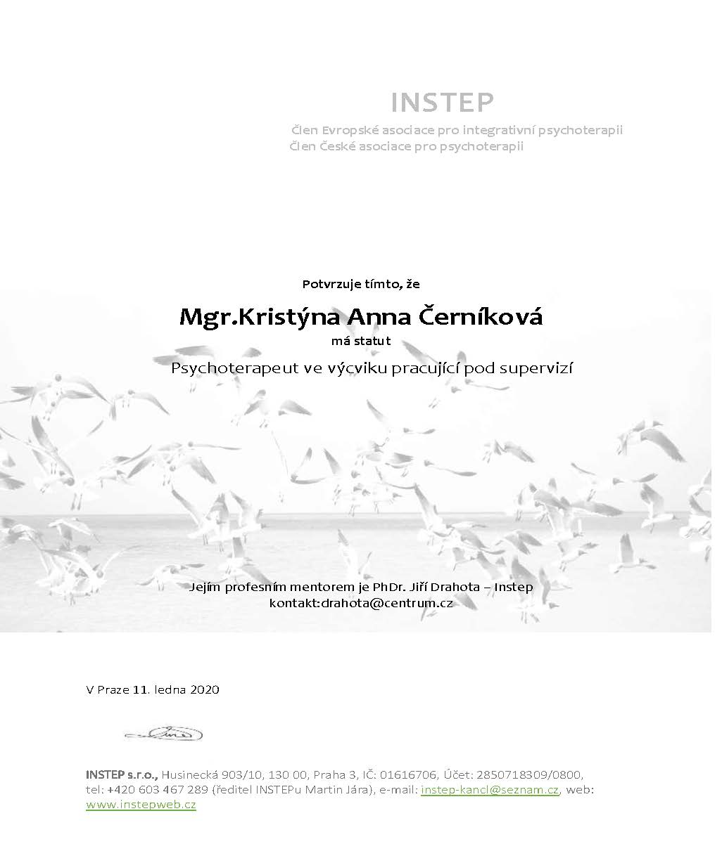 Psychoterapeut ve výcviku - potvrzení - Černíková